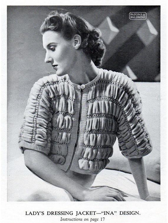 1930er Jahre Bett Dressing Jacken Stricken Und Häkeln Muster Etsy