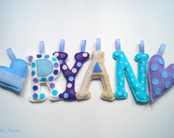 Name Garland Name Banner Felt Letters Numbers Garland - Nursery Decor, Child Bedroom Decor Made to Order