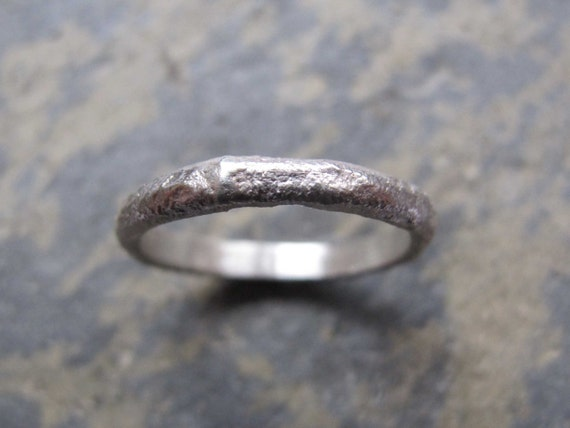 5bc16c2fcb Men's rustic textured silver band ring Men's | Etsy