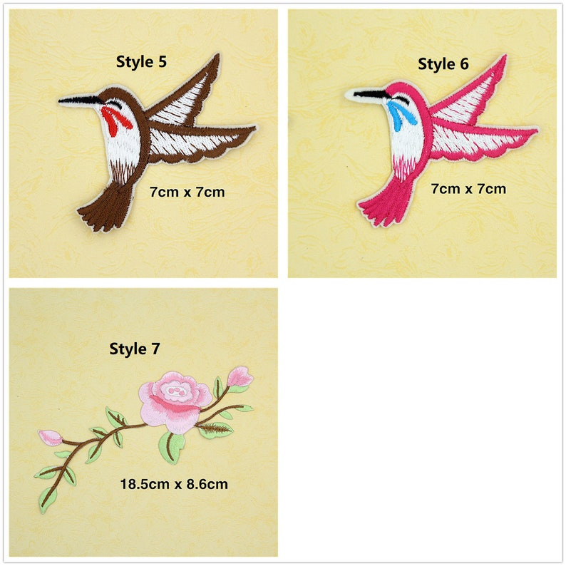 Birds Flowers WFB-7 20 pcs of Wholesale Iron on Fabric Patch for Clothing  Bulk Embroidered Sew on Applique DIY Apparel Accessories