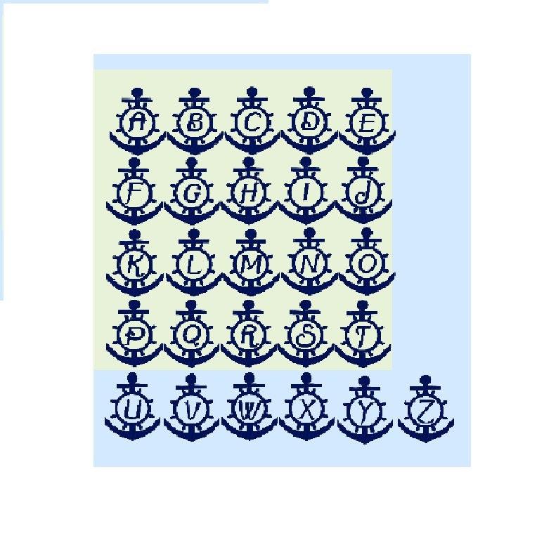 Náutica círculo ancla monograma marco serie A - Z Letras incluidas ...