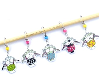 sheep in masks stitch markers, knitting in public, social distance knitting humor