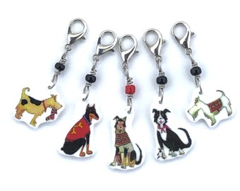 Dogs in Knits progress keepers, crochet markers, fun gift for knitters and crocheters