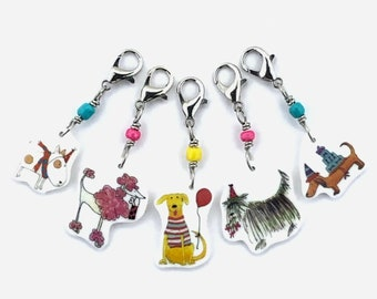 Dog Party! progress keepers, crochet markers, fun gift for knitters and crocheters