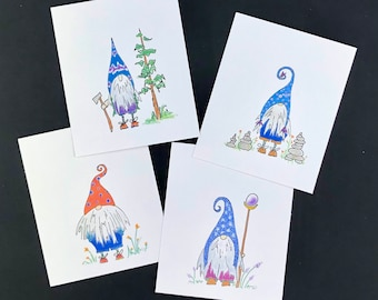 gnome mini note cards, gift tags, gift enclosure