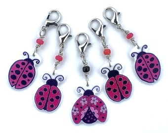 Ladybug progress keepers, crochet markers, fun gift for knitters and crocheters