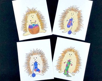 hegdehog mini note cards, gift tags, gift enclosure, whimsical gift for knitters or fiber lovers