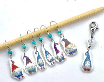 gnome stitch markers and progress keeper, fun knitting accessory and gift - coordinating gift wrap available