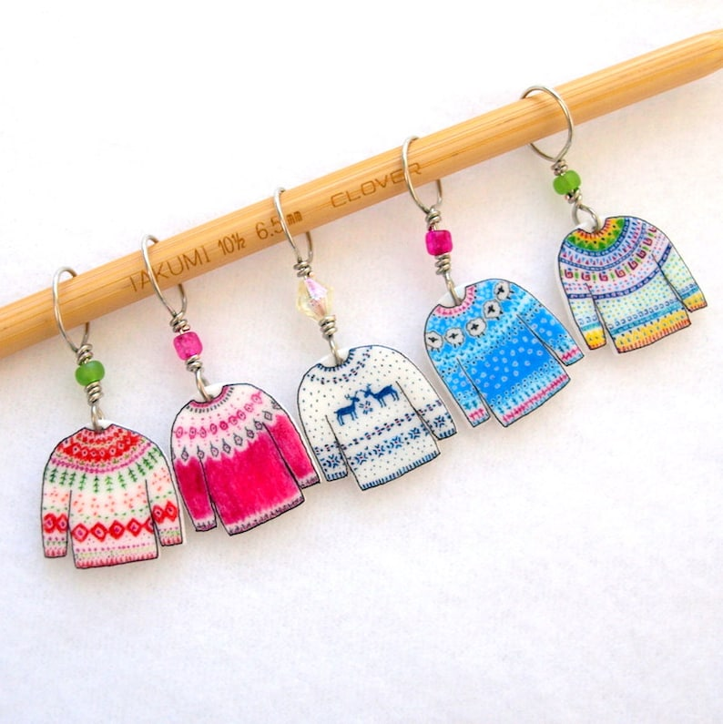 colorful sweater knitter stitch markers snag free colorful image 0