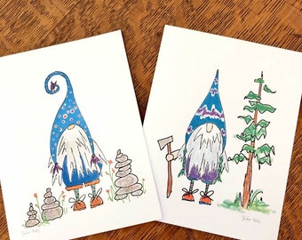 gnome note cards, adventuring nature loving little gnomes - matching stitch markers available