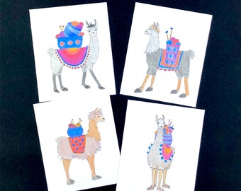 Llama llama mini note cards, gift tags, gift enclosure, whimsical gift for knitters or fiber lovers