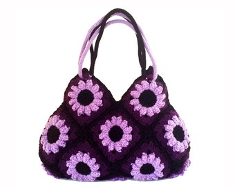 Bohemian purse crochet shoulder bag purple carryall bag hippie floral bag