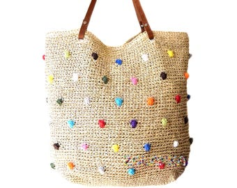 Straw beach bag large raffia beach tote dotted beach bag natural straw beach bag genuine leather straps extra large summer woven beach bag