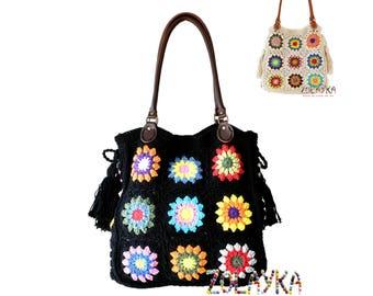 Black large purse boho shoulder bag, large crochet tote bag leather handles hippie purse with tassels large hobo bag black boho shoulder bag