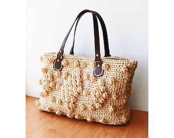 Straw handbag natural crochet raffia bag woven straw purse summer straw bag Gerard Darel inspired straw tote bag beach tote bag raffia tote