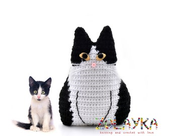 Crochet Cat Toy Pillows Set Black And White Cat Stuffed Cat Etsy