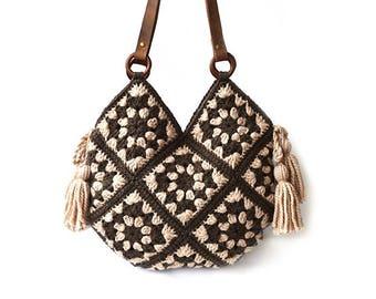 Boho shoulder bag, everyday large purse, crochet handbag, hippie big crochet bag, large tote bag women, floral carryall handmade office bag