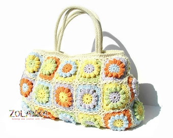 Women boho hippie bag with flowers bohemian style eco friendly cotton shoulder bag granny squares top handle handback in bright colors