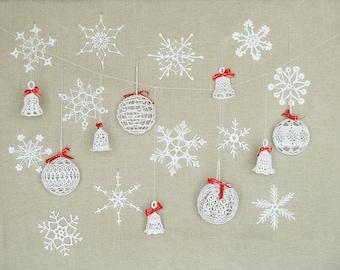 21 lace Christmas ornaments, crochet snowflakes, crochet balls, crochet bells