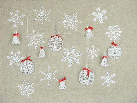 21 Spitze Weihnachtsschmuck Schneeflocken häkeln häkeln | Etsy