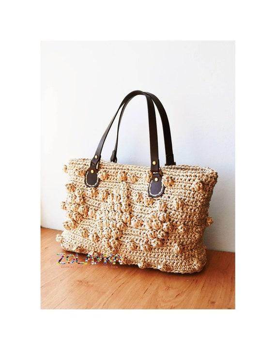 Tote bag crochet raffia bag embroidered natural straw crochet bagstraw bag