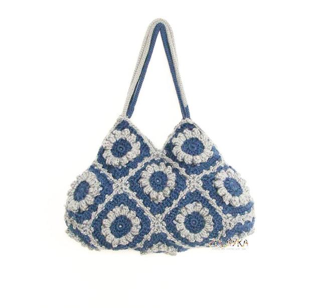 Denim-Blau Blumen die Tasche häkeln Schulter Handtasche Oma | Etsy