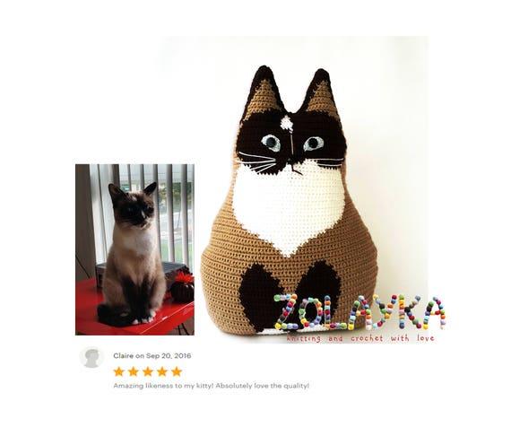 Cat lover gift custom cat pillow portrait personalized cat memorial pet loss gift gray hairy kitten pillow new pet owner crochet cat stuffy