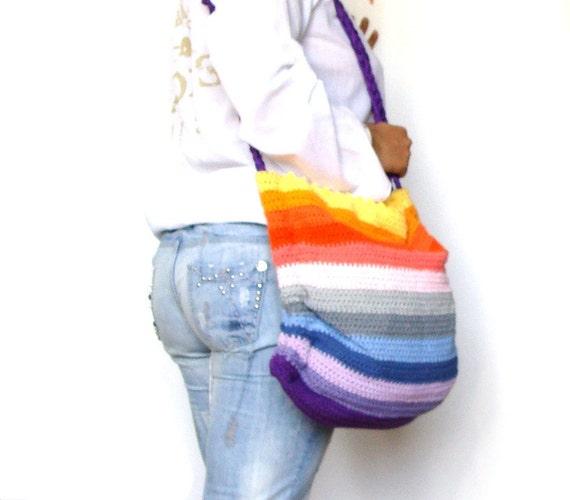 Bunte häkeln Tasche Regenbogen abgestreift häkeln slouchy