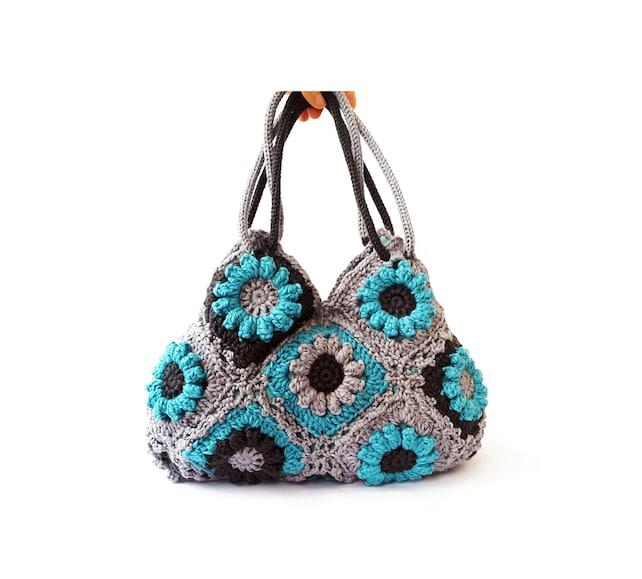 Türkis Blume häkeln Handtasche Tasche Schultertasche | Etsy
