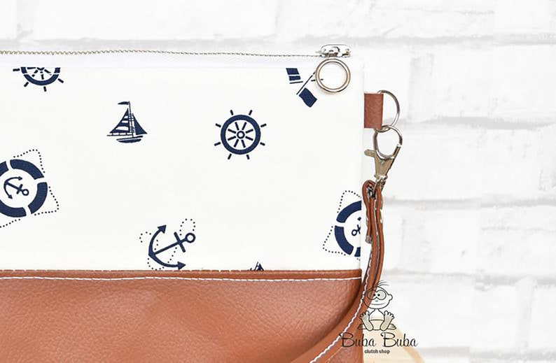 best friend case Nautical cell phone purse anchor mobile wallet with card slots sea lover iPhone wristlet clutch smartphone pocket bag