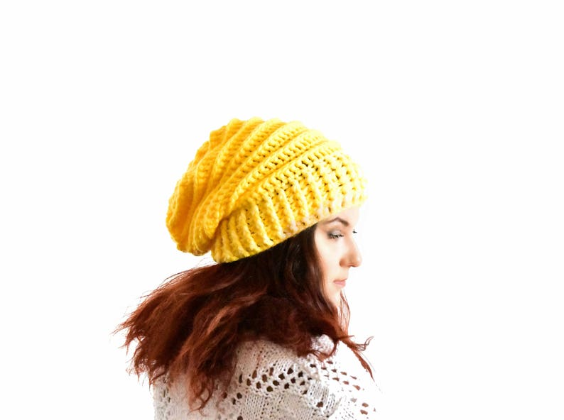 1646ce12026 Yellow slouchy beanie for woman crochet beanie oversized