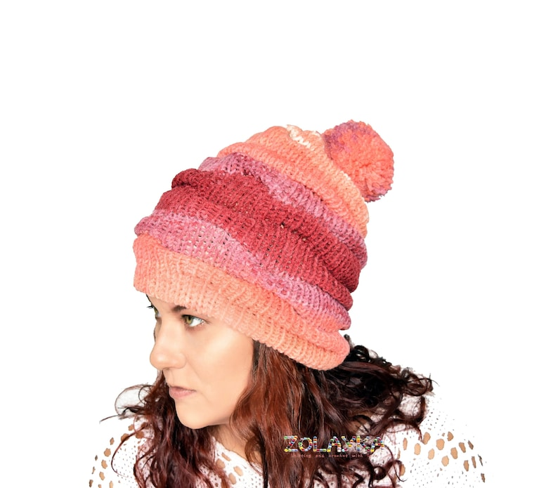 aaaf0439880 Pom pom beanie hat for women coral striped slouchy toque