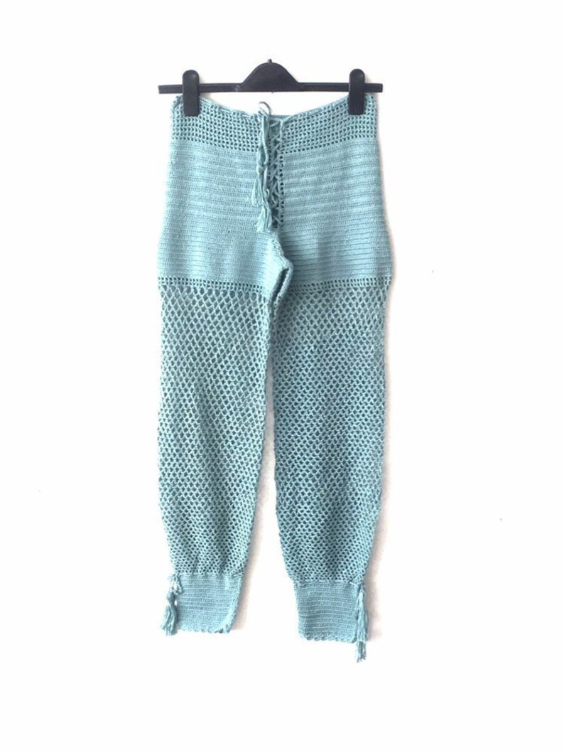 Crochet Beach Pants Mint Blue Crochet Pants Yoga Pants Etsy