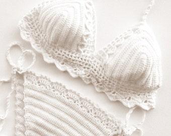 Halter Bikini Set , White Crochet Bikini Women Swimwear Swimsuit Brazilian Boho Bikini Festival Clothing 2018 Beach Fashion Bathingsuit