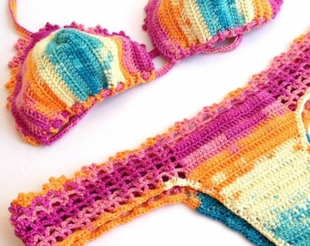 Rainbow Crochet Bikini , Women Swimwear Swimsuit  Womens Clothing Bikini Set Beachwear Brazilian Bikini Summer Fashion /// senoaccessory