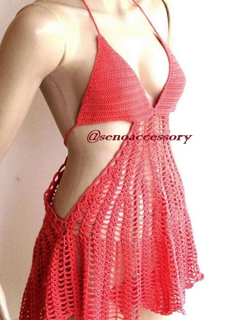 Coral Red Crochet Beach Dress Swimsuit Women Boho Summer Dress Festival Clothings Beachwear Swimsuits Bathing Suits Summer Beach Fashion