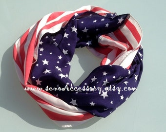 American Flag Scarf Women Infinity Scarves Flag Scarf infinity American Flag Scarves Red White Blue Scarf Patriotic Holiday July 4th Scarf