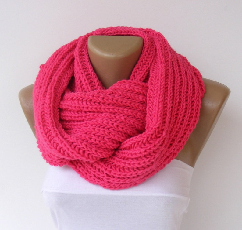 Gift For Mom Chunky Knit Infinity Scarf Pink Knit Scarf Women image 0