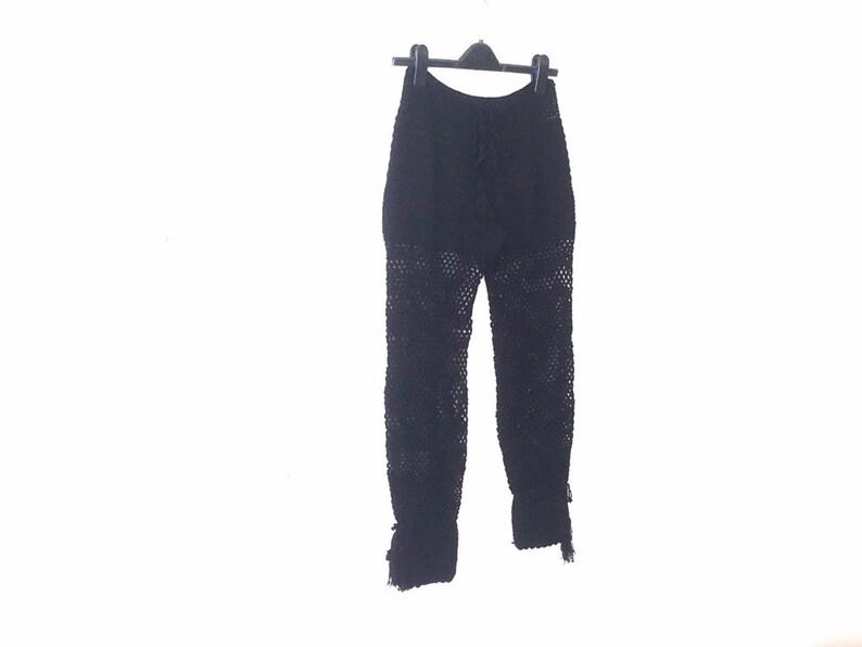 e3c5e085f9bae Beach Pant / Black Crochet Beach Pants / Yoga Pants / Womens   Etsy