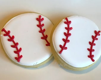 Baseball Cookies 2 dozen