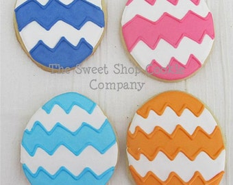 Chevron Easter Egg cookies 2 dozen