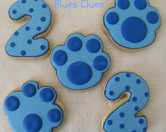 Blue Paw Print cookies 2 dozen
