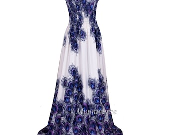 62b04af87f90 Extra Long Maxi Dress For Tall Women Plus Size Clothing White Peacock Hawaiian  Dress Long Summer Sleevesless Sexy Wedding Gown Bridal Shower
