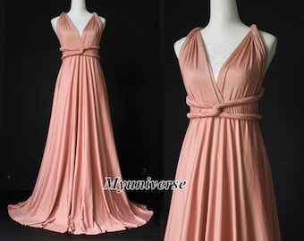 1d37f8f70d0 Dusty Pink Bridesmaid Dress Infinity Dress Wrap Formal Dress Jersey Wedding  Women Plus Size Clothing Long Evening Gown Maternity Flower Girl