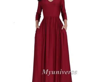 15df701ae90 Maxi Dress 3 4 Sleeves Plus Size Clothing Burgundy Wine Red Maroon  Bridesmaid Dress Evening Dress Sundress Long Dress Autumn Summer Casual