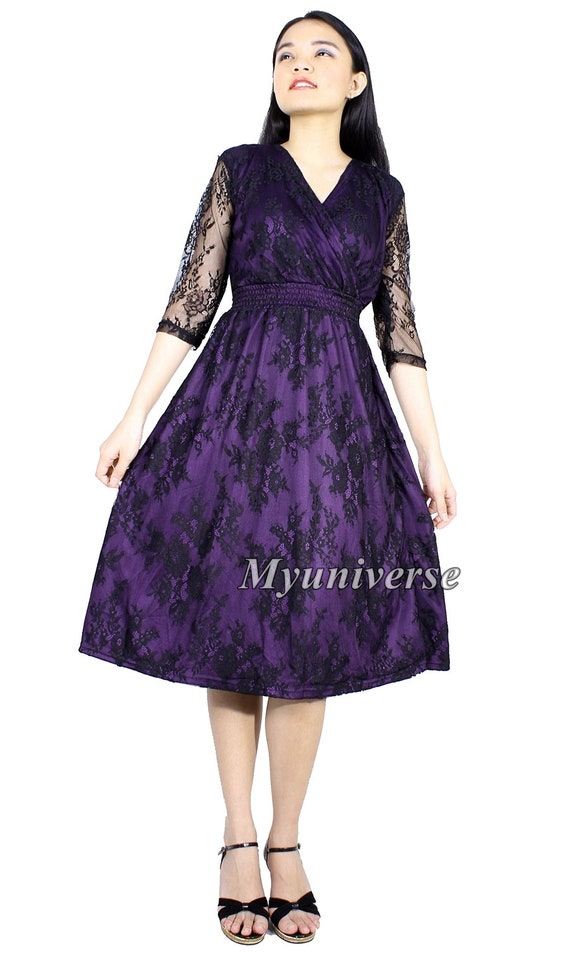 Black Lace Plus Size Dresses For Women Formal Short Knee Etsy