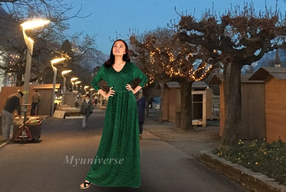 Prom Dress Homecoming Maxi Dress Bridesmaid Dress Sparkly Etsy
