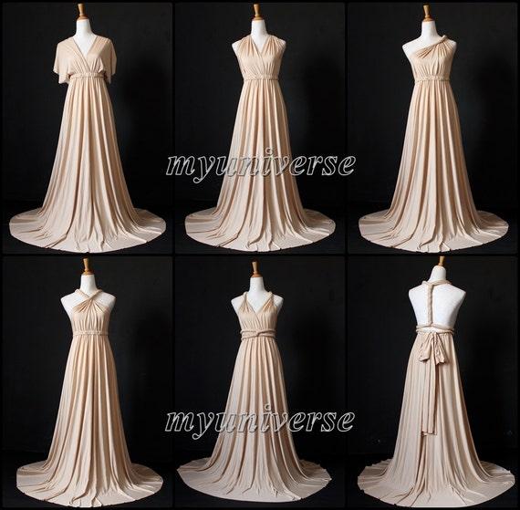 Champagne Bridesmaid Dress Wrap Convertible Dress Infinity Dress Maxi Dress  Wedding Dress Plus Size Flower Girl Dress Formal Evening Gown