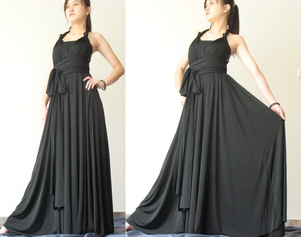Convertible Wrap Dress Black Infinity Dress Long Maxi Dress/ Plus Size  Dress Bridesmaid Dress
