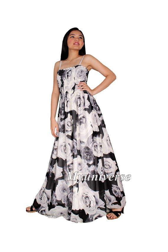 Donne nero Maxi Abito Taglie forti abbigliamento floreale  02957a4bf11